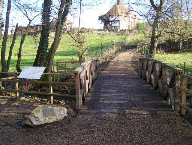 Footbridge in Bearsted Woodland Trust Land