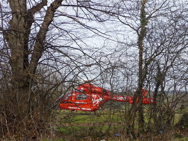 Air ambulance in Trent Park, London N14