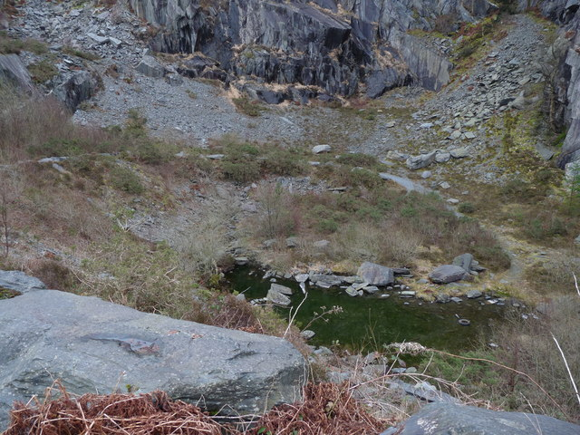 Pool at the base of Abercwmeiddaw quarry (disused)