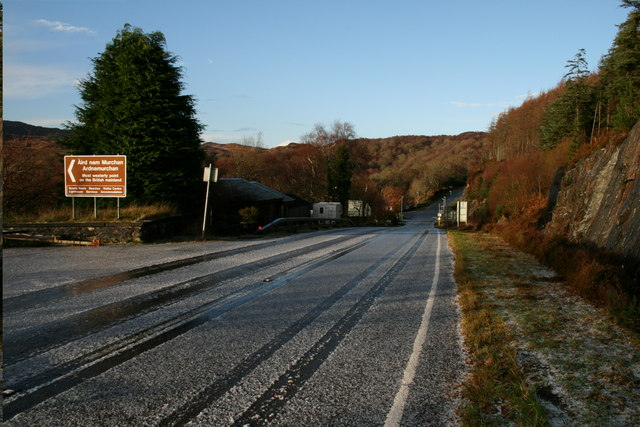 The A861 at Salen after hailstones