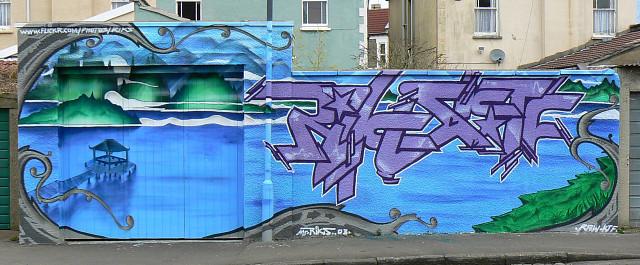 Street art close-up, Kent Road, Bishopston, Bristol