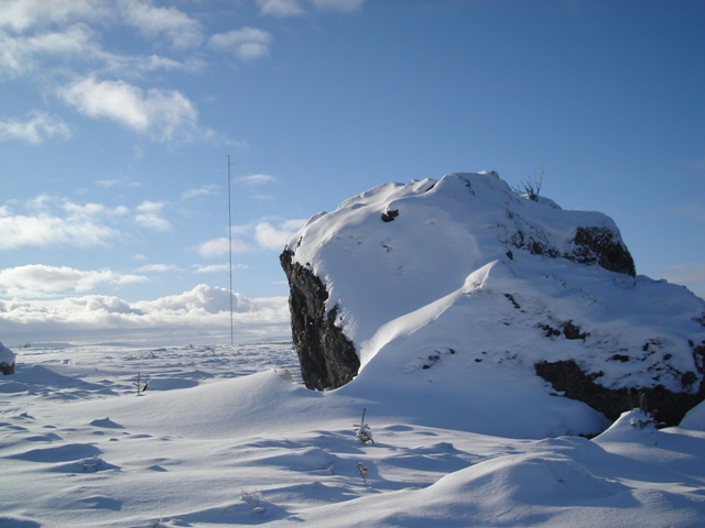 Rock outcrop and weather mast.