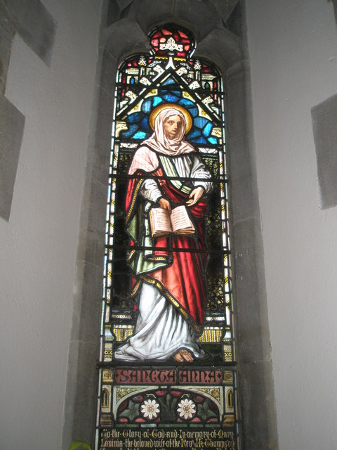 Stained glass window above the font at St Mary the Virgin, Datchet