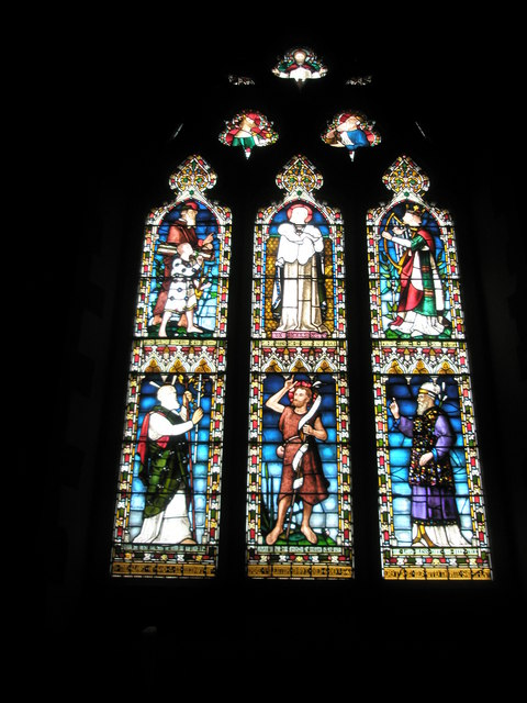 Beautiful stained glass windows on the west wall at St Mary the Virgin, Datchet