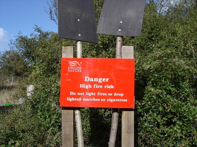 "Lullington Heath - English Nature ""fire risk"" notice"