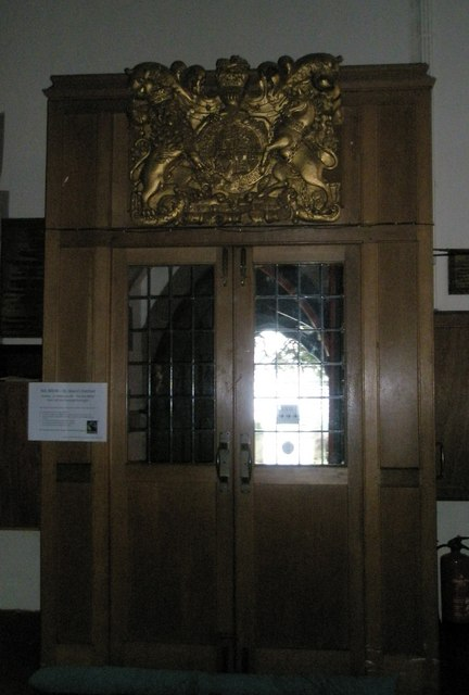Royal coat of arms above the south door at St Mary the Virgin, Datchet