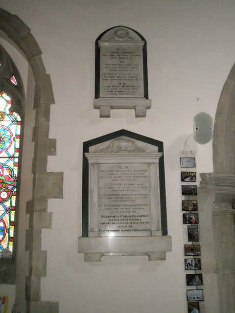 Memorials on the north wall at St Mary the Virgin, Datchet