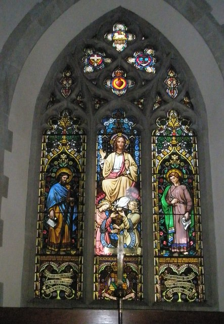 Magnificent stained glass window above the altar at St Mary the Virgin, Datchet