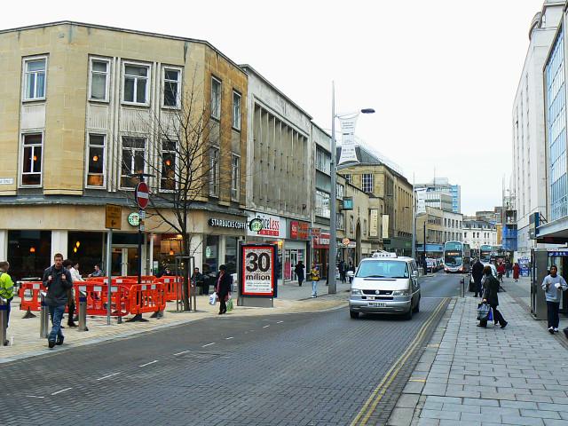 West along The Horsefair, Bristol