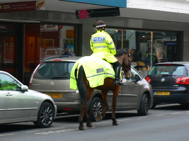 Mounted police officer, The Horsefair, Bristol