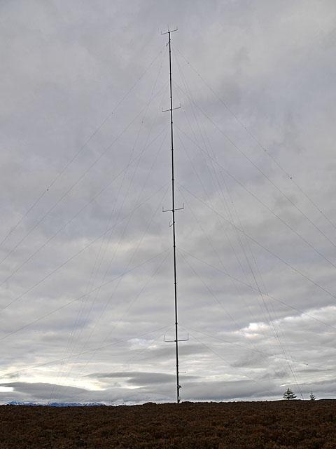 Mast on the summit of Creag a' Bhealaidh