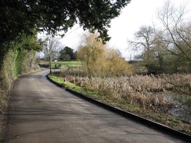 View along Shearwater Road towards Elmstone church