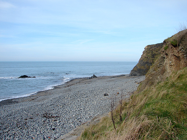 Shingle beach and low cliffs at the north end of Clarach Bay