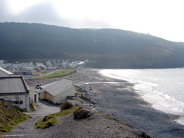 Looking back towards Clarach Bay from the coastal path to Borth