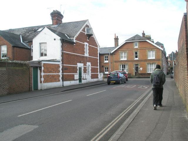 Looking along Gordon Road towards  Hyde Abbey Road