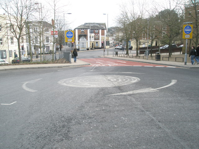 Looking past the mini-roundabout on Station Hill down to the B3404 crossroads