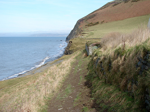 The Ceredigion Coastal Path passing in front of the house at Wallog