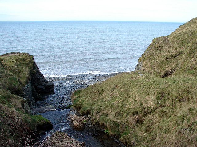 Stream flowing into the sea at Wallog