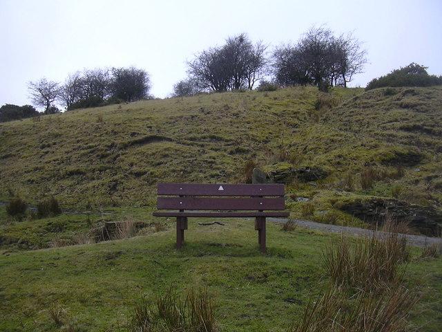 Bench on footpath, Grane Valley