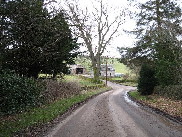 Looking towards Bedrule Farm down the village road