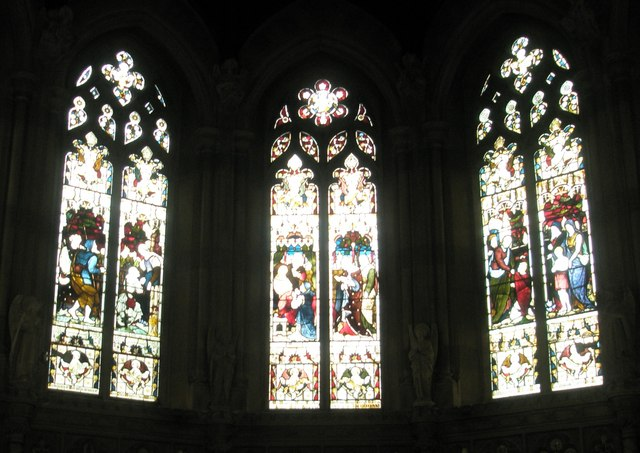 Stained glass window above the altar at St John the Baptist, Windsor
