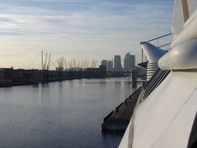 Royal Victoria Dock - with Canary Wharf and the Millennium Dome in the background