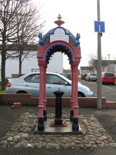 Commemorative fountain at Newcraighall
