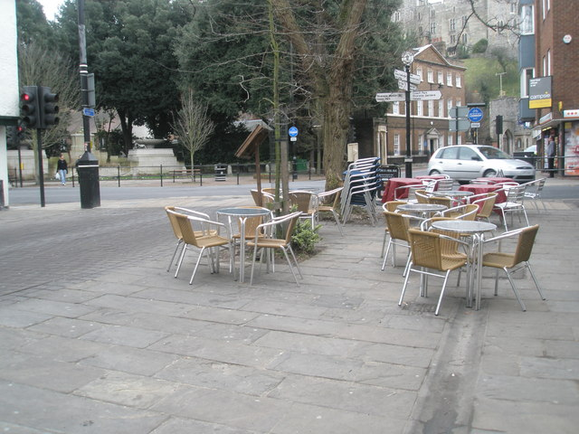 Empty  seats and tables in Thames Street