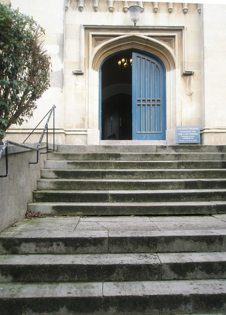 Steps up to the west door at Windsor Parish Church