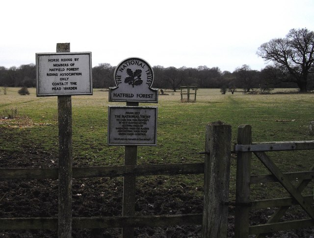 Signs at minor entrance to Hatfield Forest