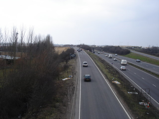 View to the west along the A14 - from the bridge at the end of Cowley Road
