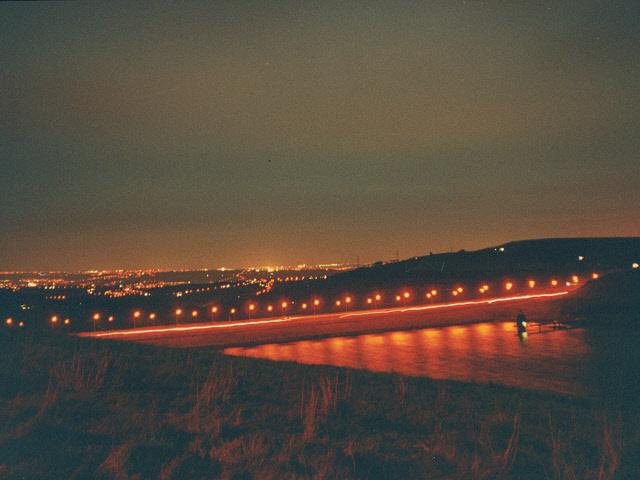 The M62 across Scammonden at night
