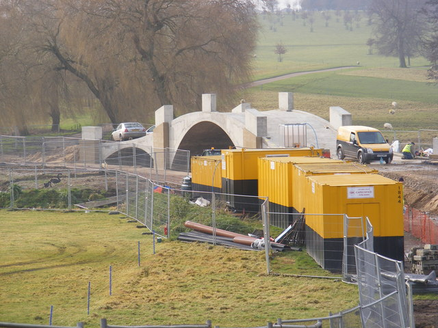 Construction of new bridge over the lake at Heveningham Park