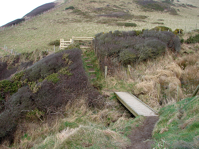 Footbridge and gate on the Ceredigion Coastal Path