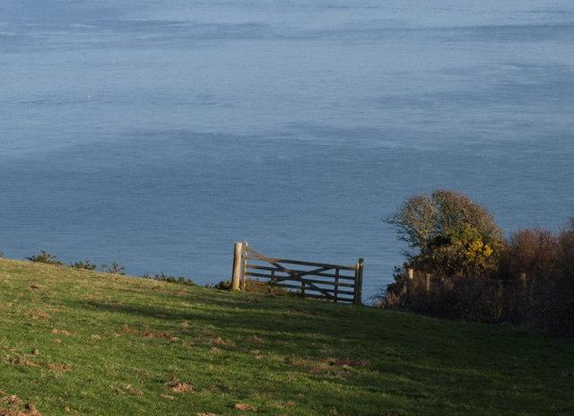 Gate above coast path near Coleton Fishacre