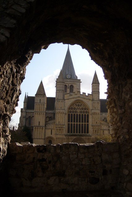 Cathedral seen through a gap in the Castle wall