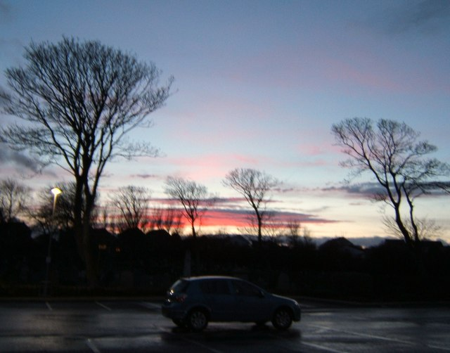 Sunset  over Aldi car-park