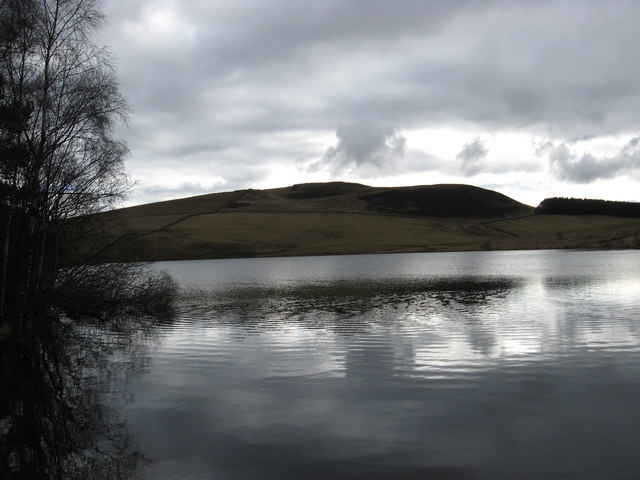 A view of beautiful Cauldshiels Loch amidst rolling hills