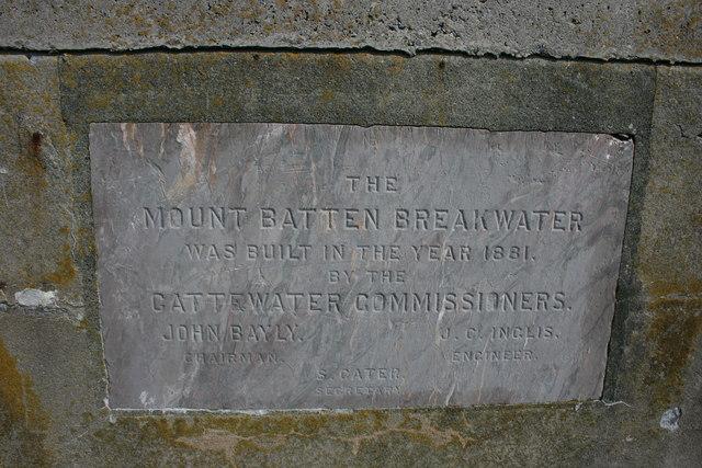 Plaque on Mount Batten Breakwater