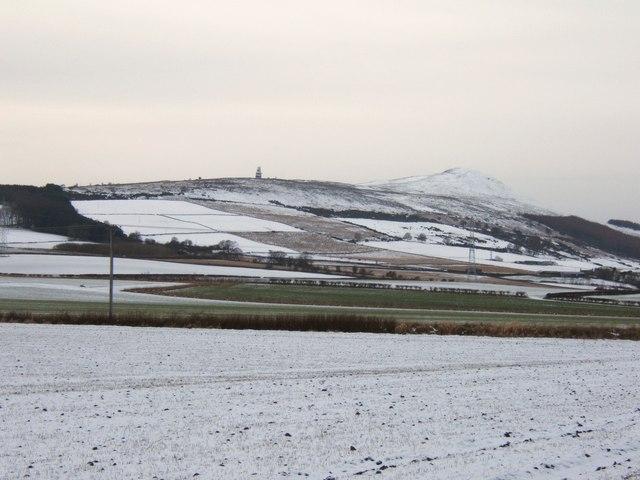 Snowy patchwork fields