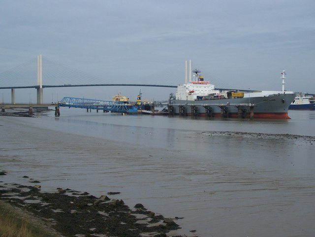 Container ship 'Aquiline' at pontoon