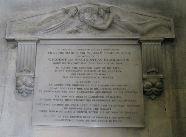 Memorial to Palmerston's second son on the west wall at Romsey Abbey