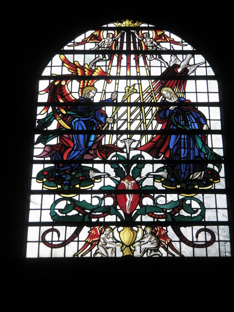 Impressive stained glass window on the south wall at Romsey Abbey
