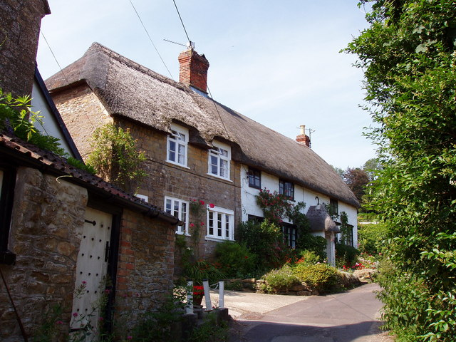 Thatched Cottages at College, East Chinnock
