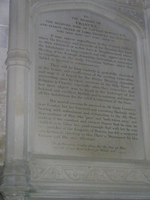 Memorial to a beloved wife on the south wall at Romsey Abbey