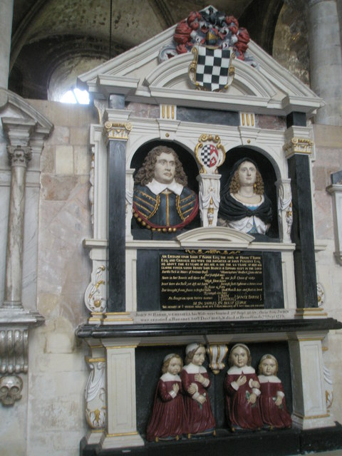Lifelike memorials within the south transept at Romsey Abbey