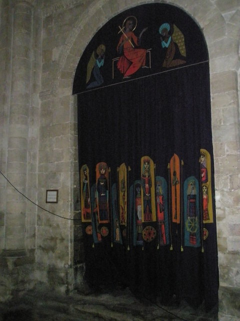 Embroidered curtain within Romsey Abbey