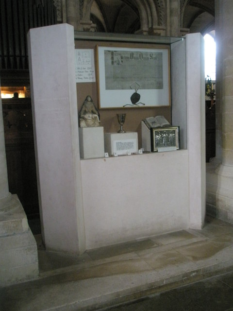 Display case opposite the south transept at Romsey Abbey