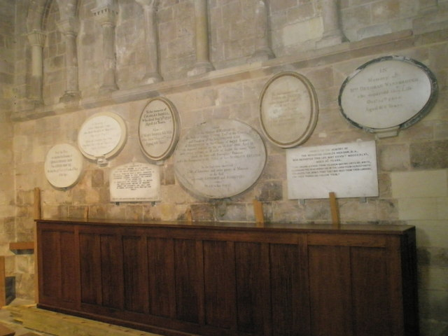 Memorials on the south transept wall at Romsey Abbey