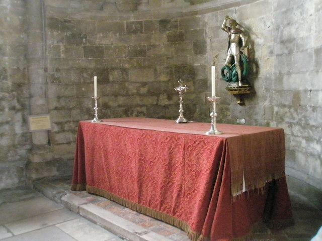 Simple altar in St George's Chapel at Romsey Abbey
